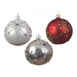 Set van 6 Glazen Kerstballen Sterrenregen Ø 8 CM