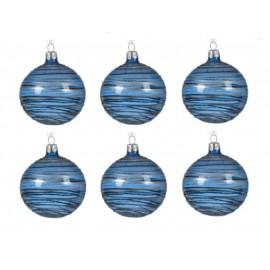 Set van 6 Glazen Kerstballen  Transparant-lijn Nachtblauw Ø 8 CM