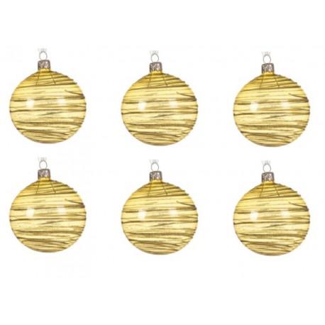 Set van 6 Glazen Kerstballen  Transparant-lijn Lichtgoud Ø 8 CM