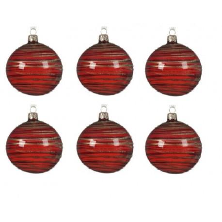 Set van 6 Glazen Kerstballen  Transparant-lijn Ossenbloed Ø 8 CM
