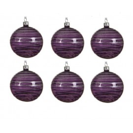 Set van 6 Glazen Kerstballen  Transparant-lijn Paars Ø 8 CM