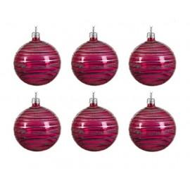 Set van 6 Glazen Kerstballen  Transparant-lijn Super Pink Ø 8 CM