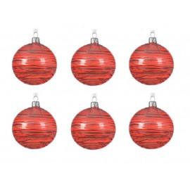 Set van 6 Glazen Kerstballen  Transparant-lijn Kerstrood Ø 8 CM