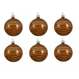 Set van 6 Glazen Kerstballen  Transparant-lijn Roestbruin Ø 8 CM
