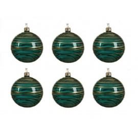 Set van 6 Glazen Kerstballen  Transparant-lijn Smaragdgroen Ø 8 CM