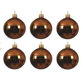 Set van 6 Glazen Kerstballen Roestbruin Ø 8 CM