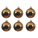 Set van 6 Glazen Kerstballen Messing Goud Ø 8 CM