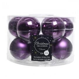 Set van 12 Glazen Kerstballen Petunia Paars Glans-Mat Ø 5 CM
