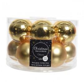 Set van 12 Glazen Kerstballen Licht Goud Glans-Mat Ø 5 CM