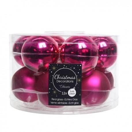Set van 12 Glazen Kerstballen Super Pink Glans-Mat Ø 5 CM