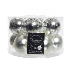Set van 12 Glazen Kerstballen Zilver Glans-Mat Ø 5 CM