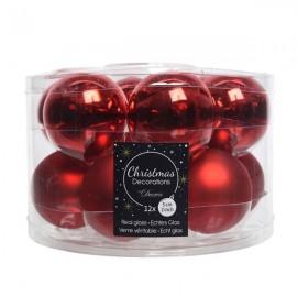 Set van 12 Glazen Kerstballen Kerst Rood Glans-Mat Ø 5 CM