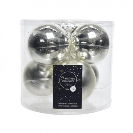 Set van 6 Glazen Kerstballen Zilver Glans-Mat Ø 8 CM