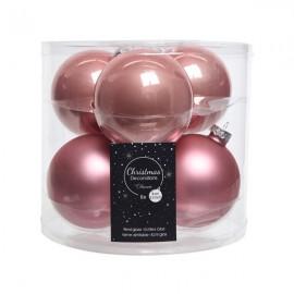 Set van 6 Glazen Kerstballen Wilde Roos Glans-Mat Ø 8 CM
