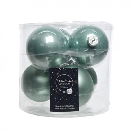 Set van 6 Glazen Kerstballen Eucalyptus Groen Glans-Mat Ø 8 CM