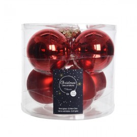 Set van 6 Glazen Kerstballen Kerst Rood Glans-Mat Ø 8 CM