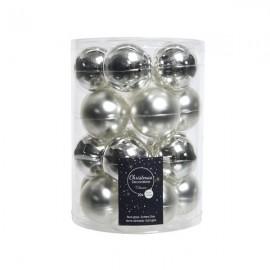 Set van 20 Glazen Kerstballen Zilver Glans-Mat Ø 6 CM