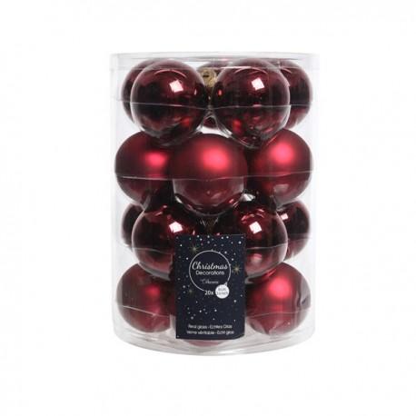 Set van 20 Glazen Kerstballen Ossenbloed Rood Glans-Mat Ø 6 CM