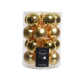 Set van 20 Glazen Kerstballen Licht Goud Glans-Mat Ø 6 CM