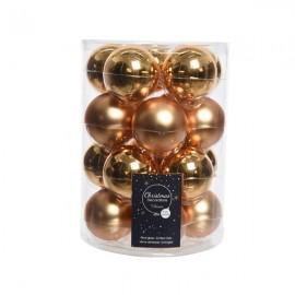 Set van 20 Glazen Kerstballen Messing Goud Glans-Mat Ø 6 CM