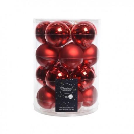 Set van 20 Glazen Kerstballen Kerst Rood Glans-Mat Ø 6 CM