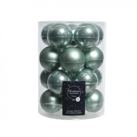 Set van 20 Glazen Kerstballen Eucalyptus Emaille-Mat Ø 6 CM