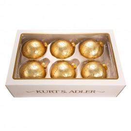 Set van 6 Glazen Kerstballen Goud Ø 8 CM