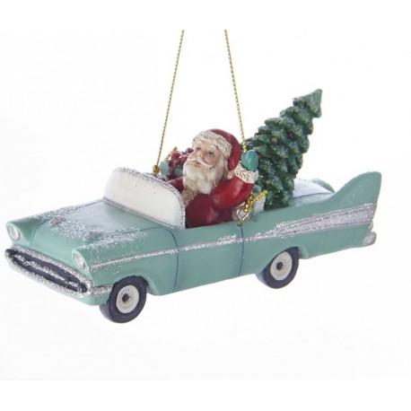 Kerstbal Kerstman in Retro Auto