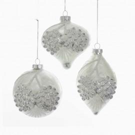 Set van 3 Glazen Kerstballen Frosted Wit