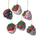 Set van 6 Kerstboomhangers Aardbei in Chocolade