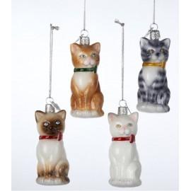 Set van 4 Glazen Kerstboomhangers Katten