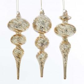 Set van 3 Glazen Gouden Kerstboom Ornamenten