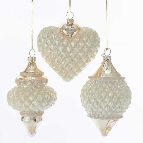 Set van 3 Glazen Kerstboom Ornamenten Ivoor