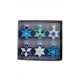 Set van 6 Glazen Kerstboomhangers Joodse Sterren
