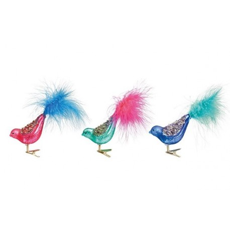 Set van 3 Glitter Vogels op Clip
