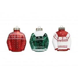 Set van 3 Glazen Kerstballen Sneeuwvlok Kersttrui