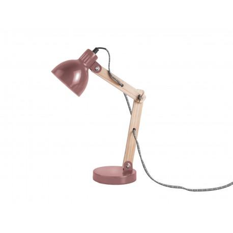 Houten Tafellamp Ogle met Metalen Kap  Warm Rood