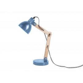 Houten Tafellamp Ogle met Metalen Kap Blauw