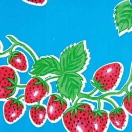 Kitsch Kitchen Tafelzeil Aardbei op Blauw