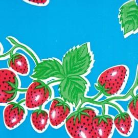 Kitsch Kitchen Tafelzeil Aarbei op Blauw