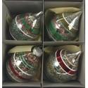 Set van 4 Retro Kerstballen Druppel Streep Transparant Ø 6,5 CM