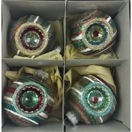 Set van 4 Retro Kerstballen  Streep Transparant Ø 6,5 CM