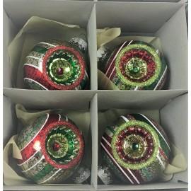Set van 4 Retro Kerstballen Crackle Zilver Ø 6,5 CM