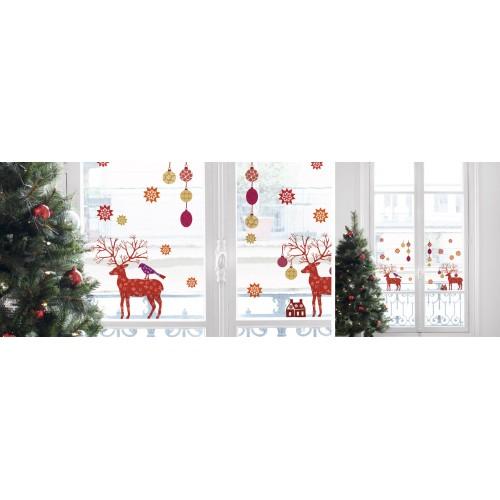 Raamsticker kerst rendier for Rendier gewei decoratie