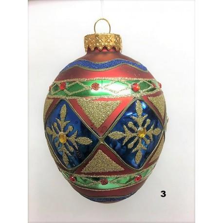 Set van 6  Glazen Jewel Egg Kerstballen Ø 12 CM