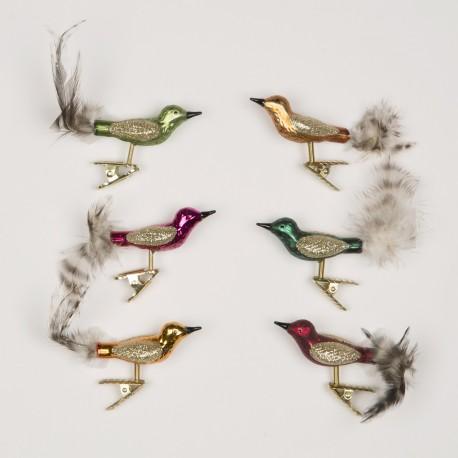 Set van 6 Glittervogels op Clip