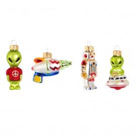 Set van 4 Ruimte Figuren Kerstboomhangers