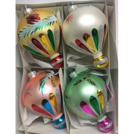 Set van 4 Kerstballen Bloementol