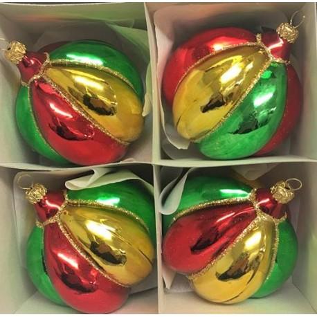 Set van 4 Rasta Kerstballen