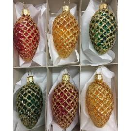 Set van 6 Dennenappels Kerstballen
